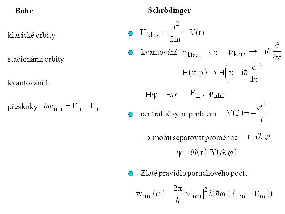 Bohr Schrödinger. klasické orbity. kvantování. stacionární orbity. kvantování L. přeskoky. centrálně sym. problém.