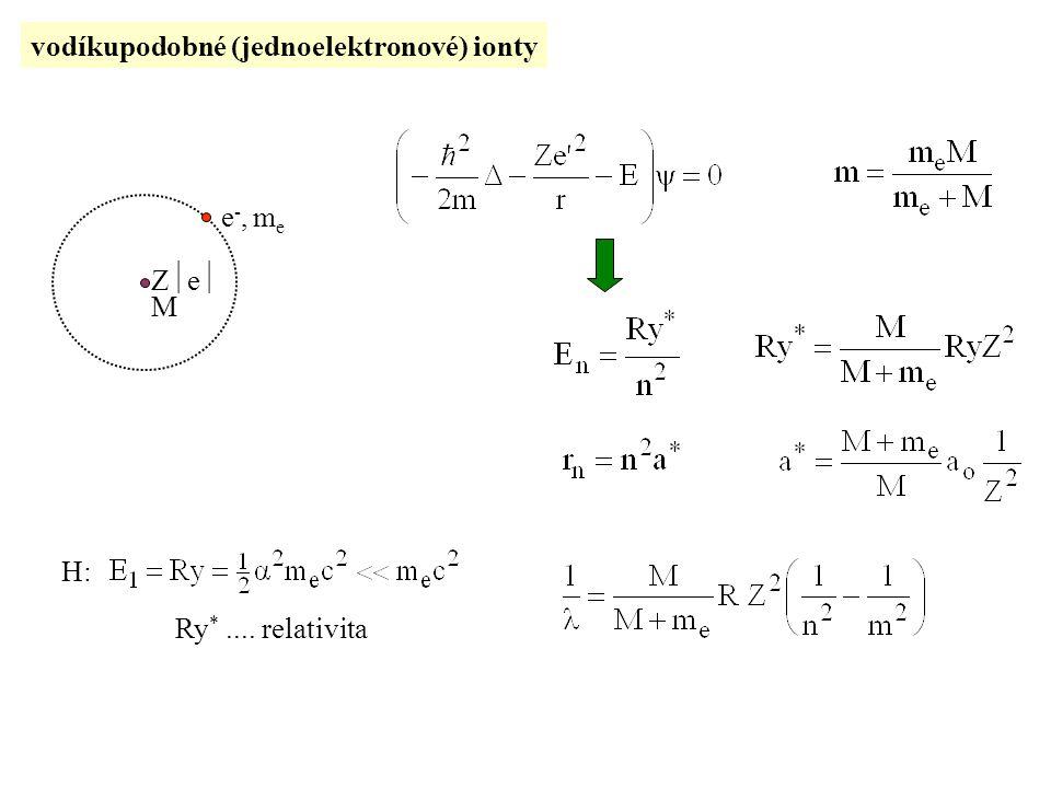 vodíkupodobné (jednoelektronové) ionty