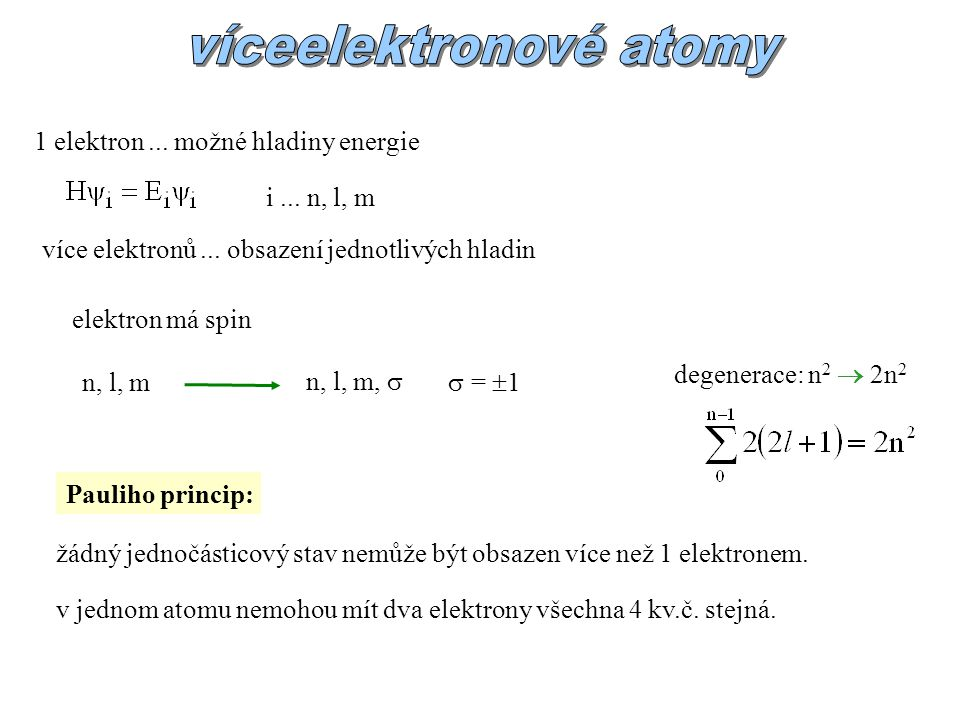 víceelektronové atomy