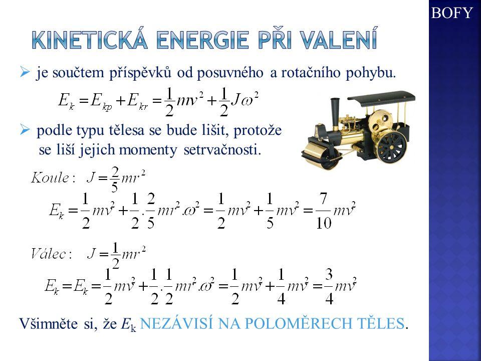 Kinetická energie při valení