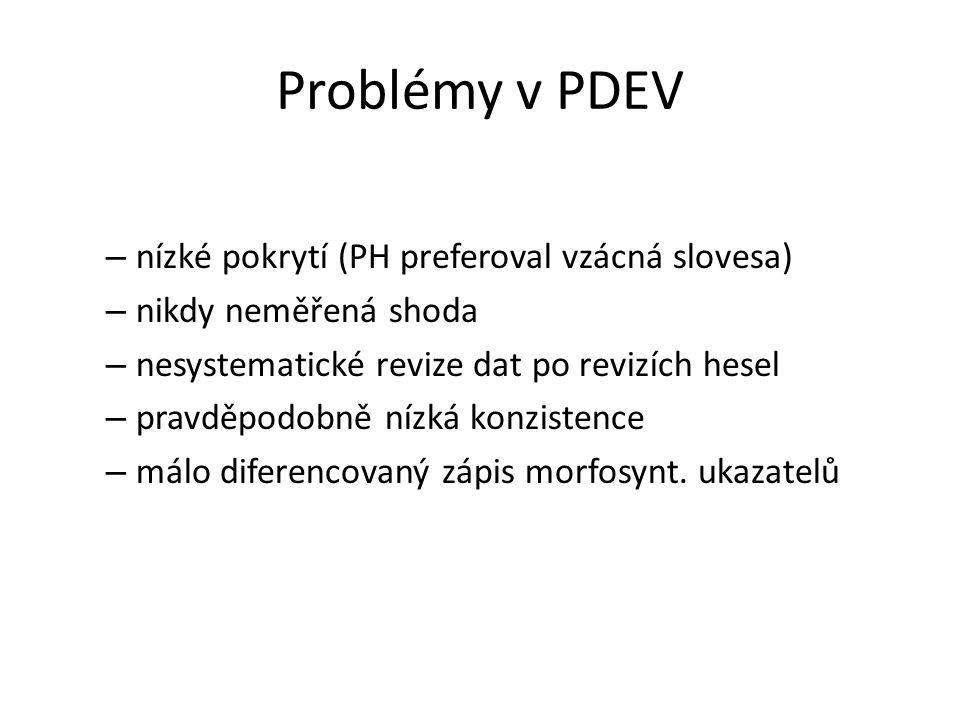 Problémy v PDEV nízké pokrytí (PH preferoval vzácná slovesa)