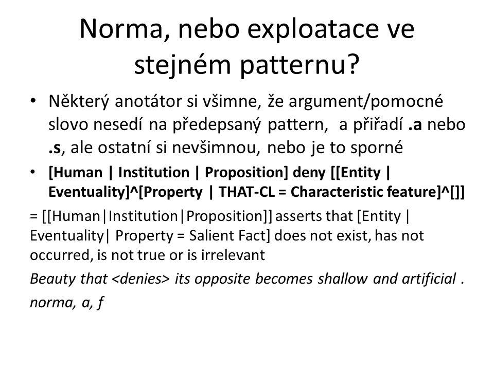 Norma, nebo exploatace ve stejném patternu
