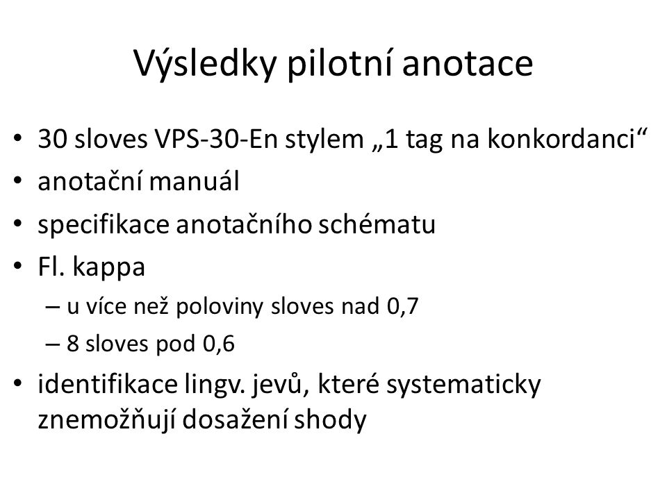 Výsledky pilotní anotace