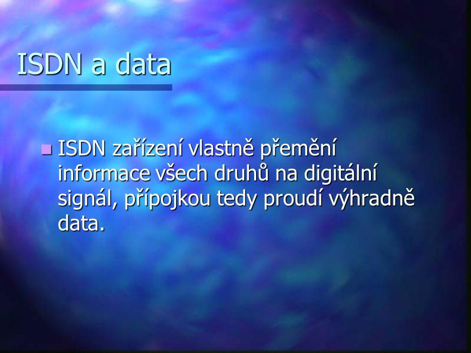 ISDN a data ISDN zařízení vlastně přemění informace všech druhů na digitální signál, přípojkou tedy proudí výhradně data.