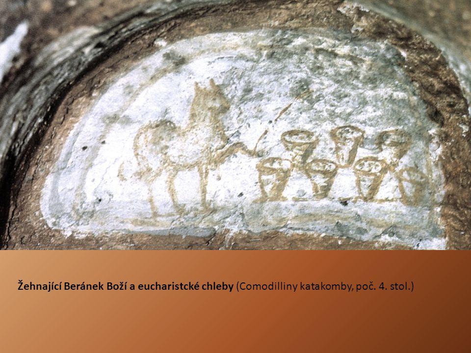 Žehnající Beránek Boží a eucharistcké chleby (Comodilliny katakomby, poč. 4. stol.)