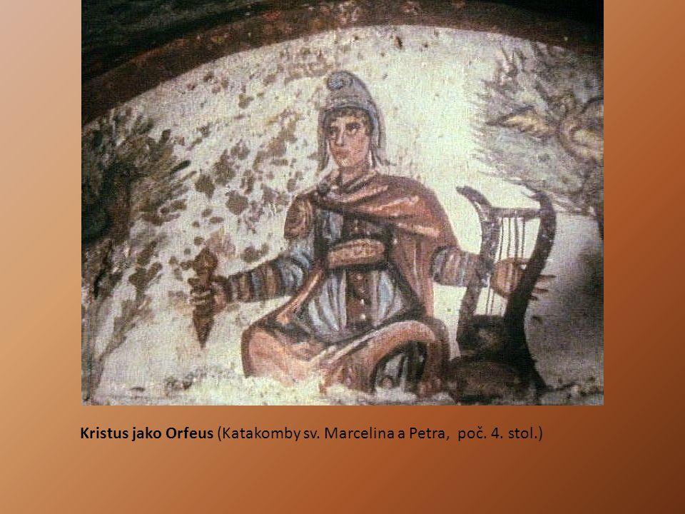 Kristus jako Orfeus (Katakomby sv. Marcelina a Petra, poč. 4. stol.)