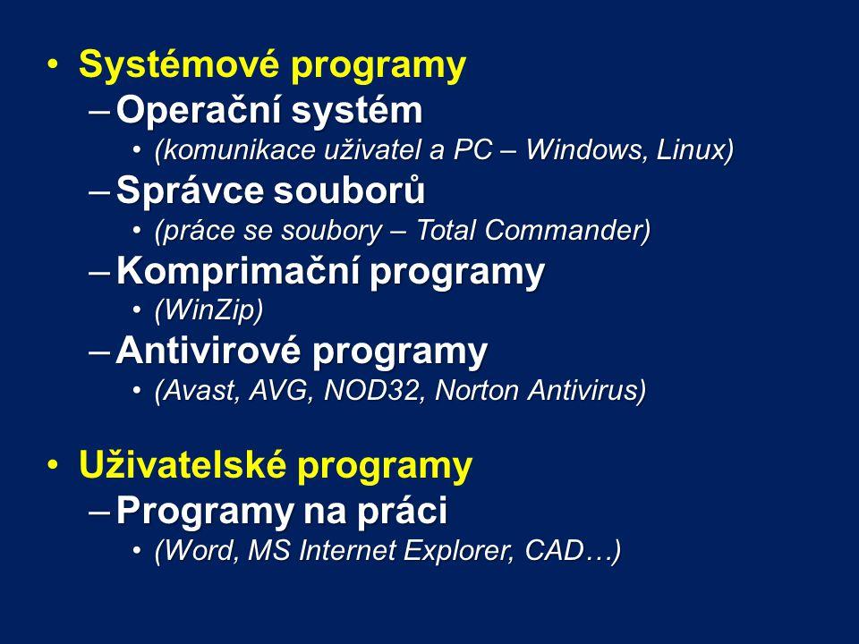 Systémové programy Operační systém Správce souborů