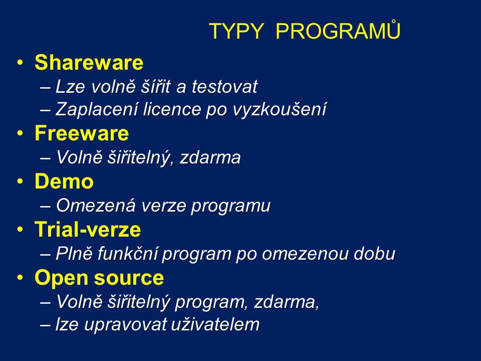 TYPY PROGRAMŮ Shareware Freeware Demo Trial-verze Open source