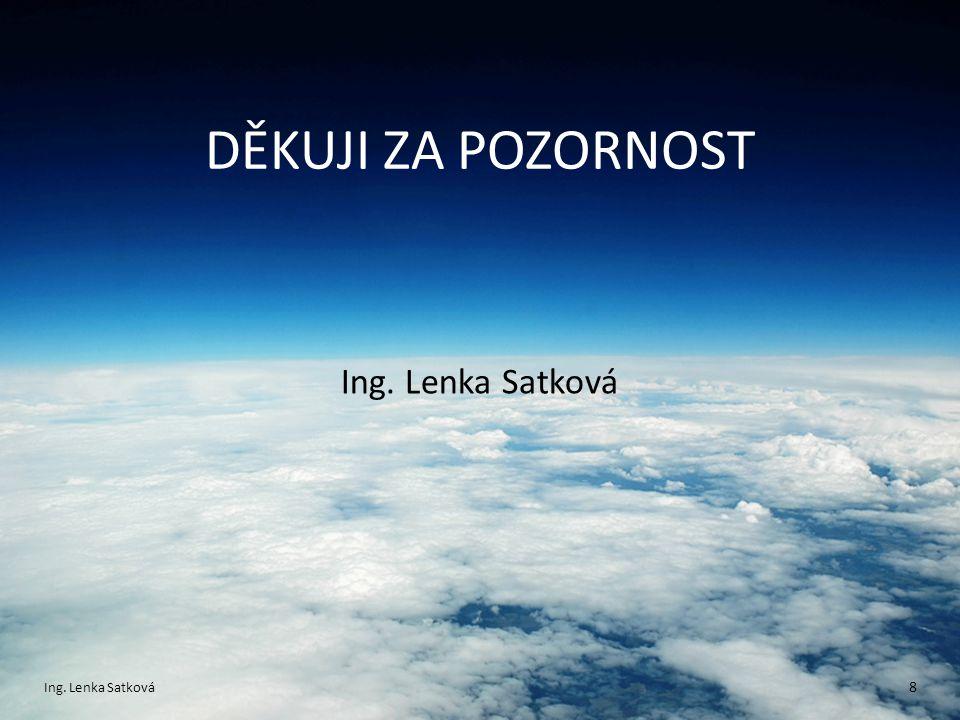 DĚKUJI ZA POZORNOST Ing. Lenka Satková Ing. Lenka Satková