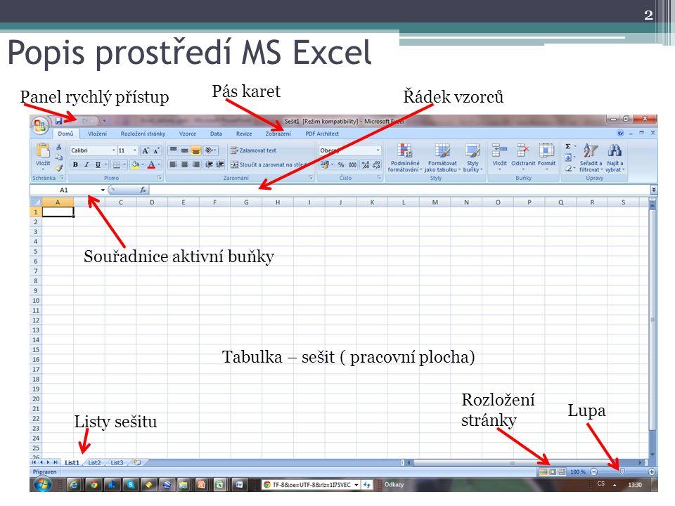 Popis prostředí MS Excel