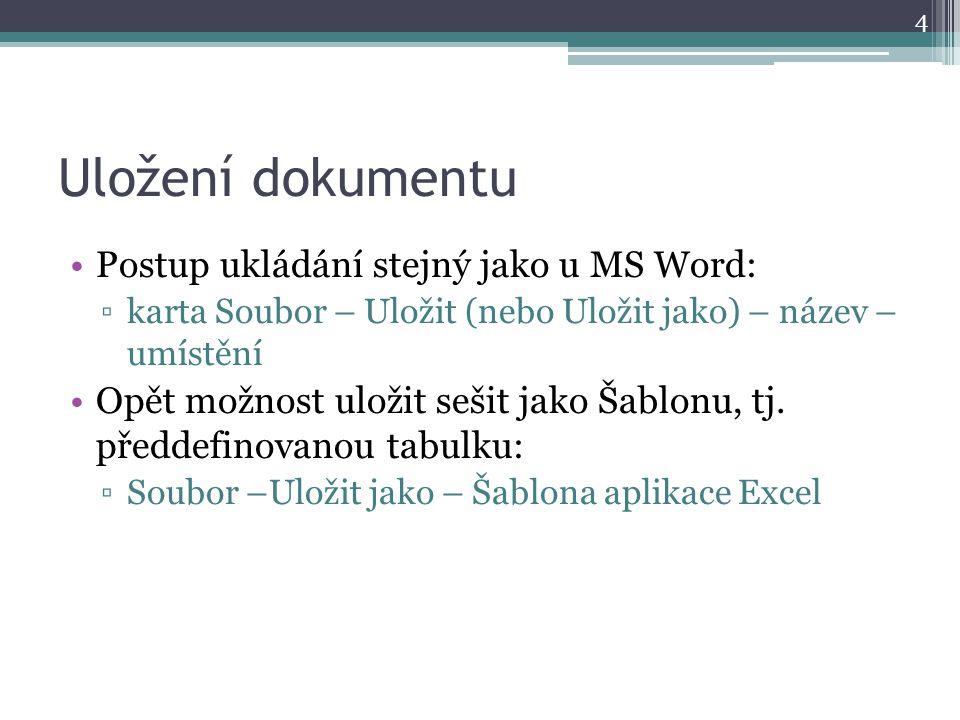 Uložení dokumentu Postup ukládání stejný jako u MS Word: