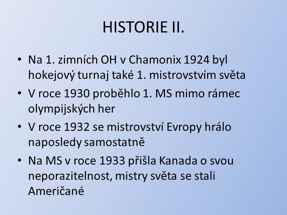 HISTORIE II. Na 1. zimních OH v Chamonix 1924 byl hokejový turnaj také 1. mistrovstvím světa. V roce 1930 proběhlo 1. MS mimo rámec olympijských her.