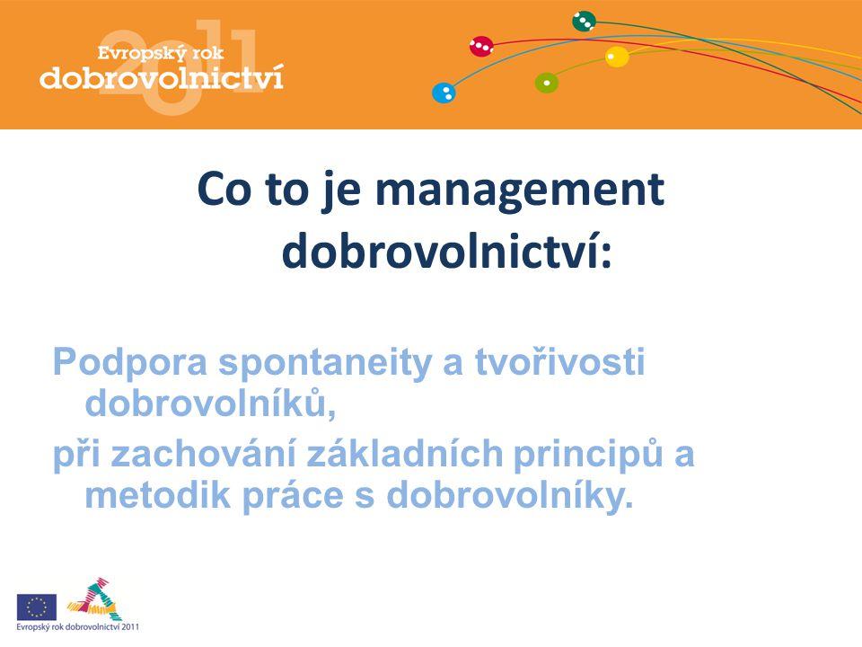 Co to je management dobrovolnictví: