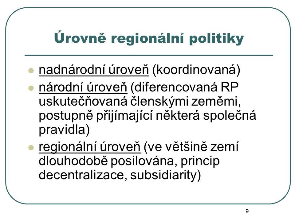 Úrovně regionální politiky