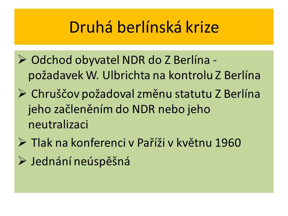 Druhá berlínská krize Odchod obyvatel NDR do Z Berlína - požadavek W. Ulbrichta na kontrolu Z Berlína.
