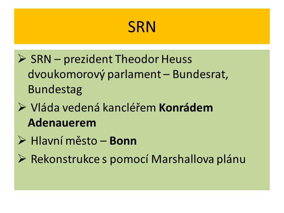 SRN SRN – prezident Theodor Heuss dvoukomorový parlament – Bundesrat, Bundestag. Vláda vedená kancléřem Konrádem Adenauerem.