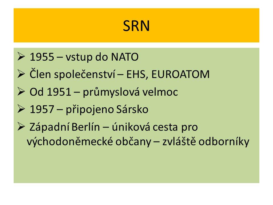 SRN 1955 – vstup do NATO Člen společenství – EHS, EUROATOM