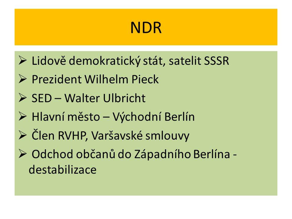 NDR Lidově demokratický stát, satelit SSSR Prezident Wilhelm Pieck