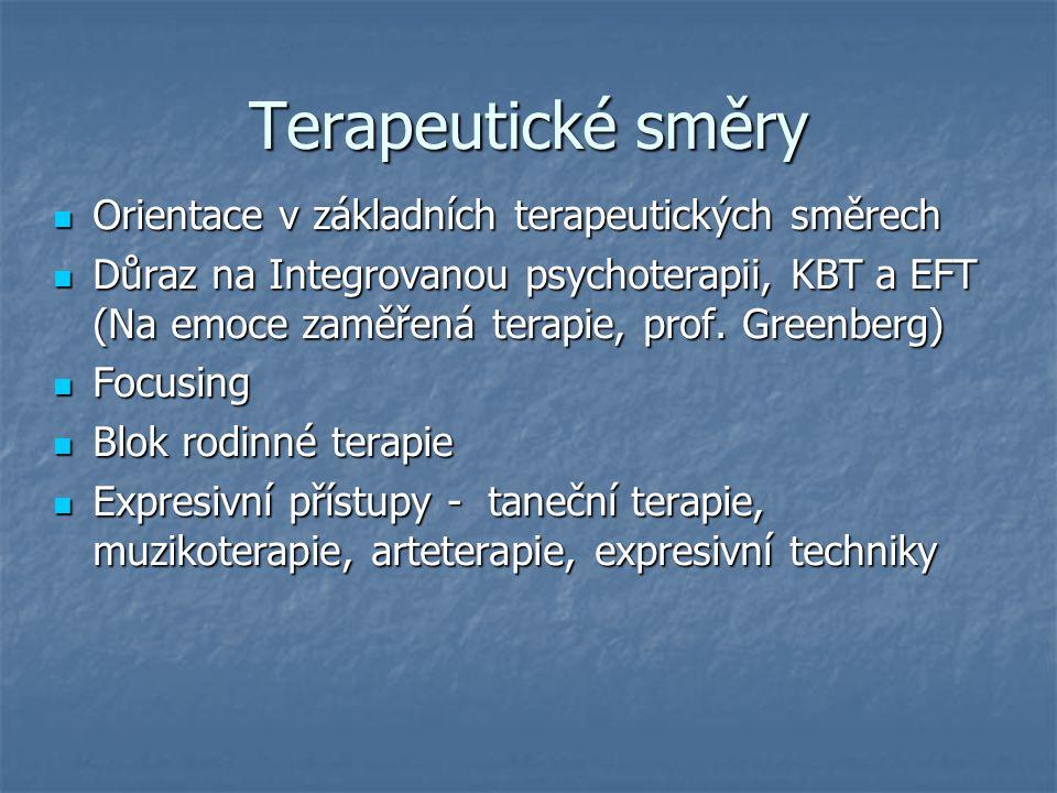 Terapeutické směry Orientace v základních terapeutických směrech