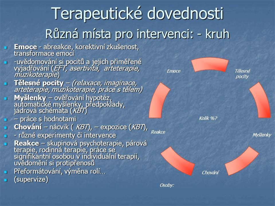 Terapeutické dovednosti Různá místa pro intervenci: - kruh