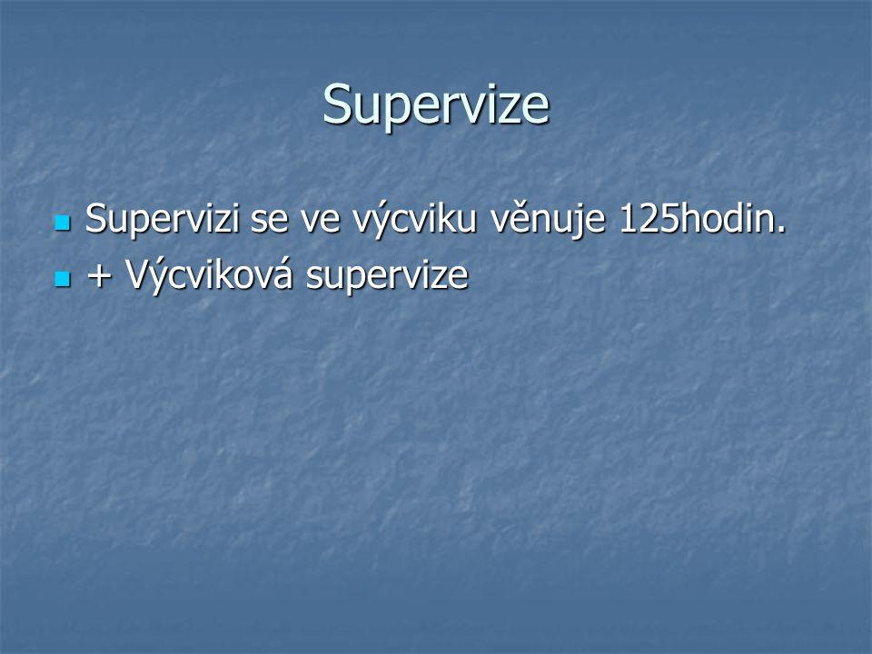 Supervize Supervizi se ve výcviku věnuje 125hodin.