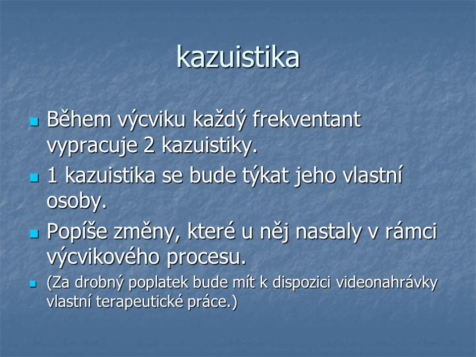 kazuistika Během výcviku každý frekventant vypracuje 2 kazuistiky.