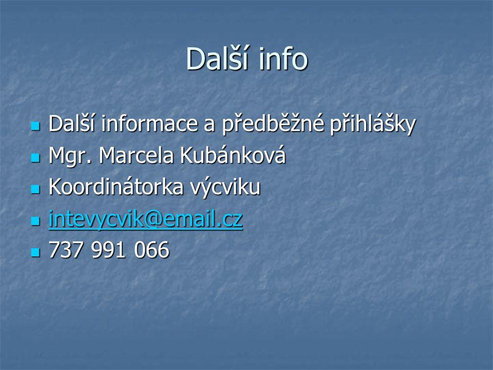 Další info Další informace a předběžné přihlášky