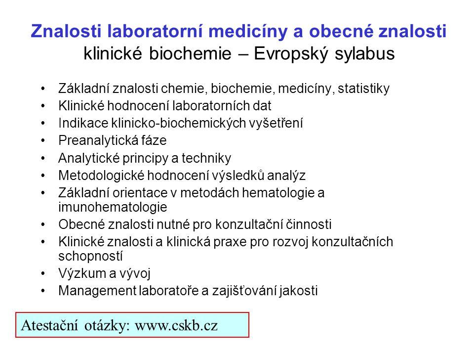 Znalosti laboratorní medicíny a obecné znalosti klinické biochemie – Evropský sylabus