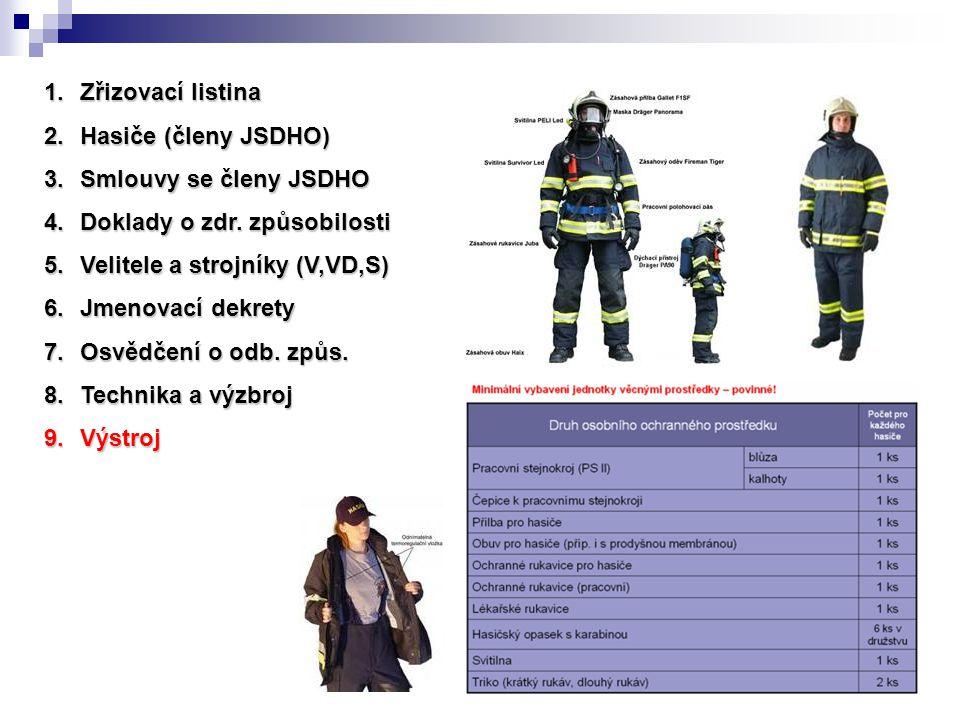 Zřizovací listina Hasiče (členy JSDHO) Smlouvy se členy JSDHO. Doklady o zdr. způsobilosti. Velitele a strojníky (V,VD,S)