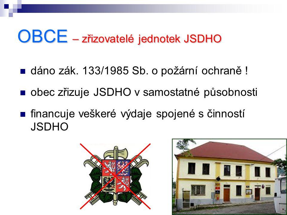 OBCE – zřizovatelé jednotek JSDHO