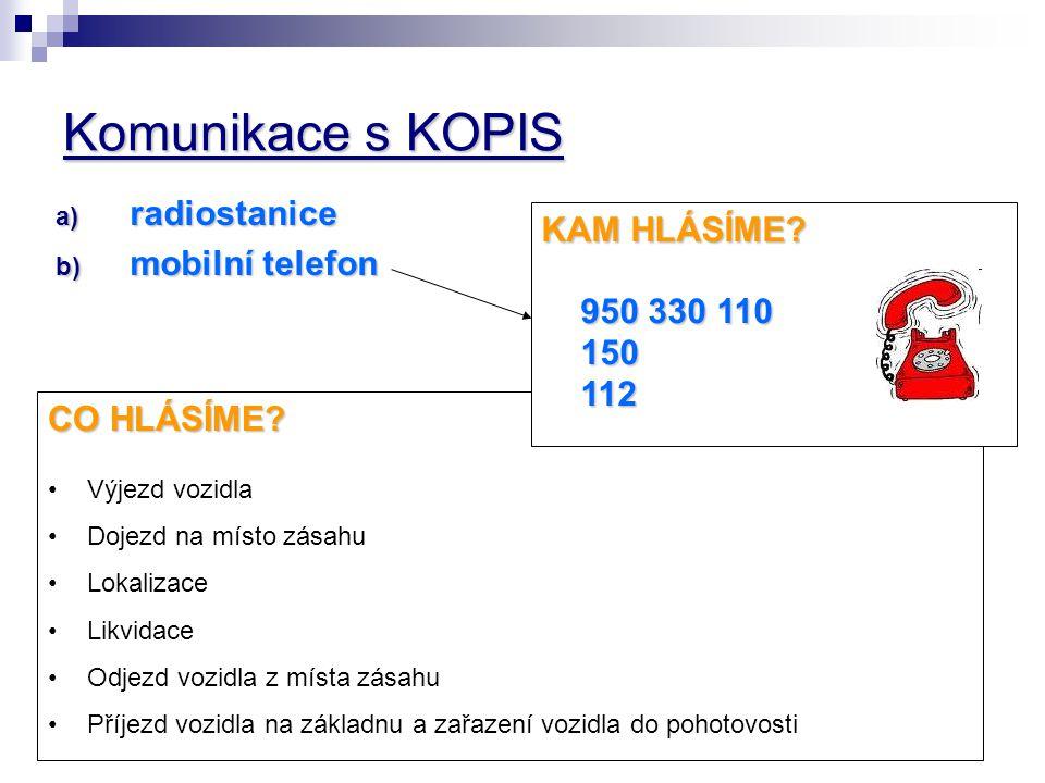 Komunikace s KOPIS radiostanice KAM HLÁSÍME mobilní telefon