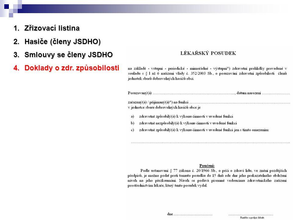 Zřizovací listina Hasiče (členy JSDHO) Smlouvy se členy JSDHO Doklady o zdr. způsobilosti