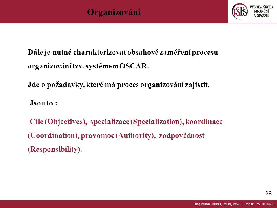Organizování Dále je nutné charakterizovat obsahové zaměření procesu organizování tzv. systémem OSCAR.