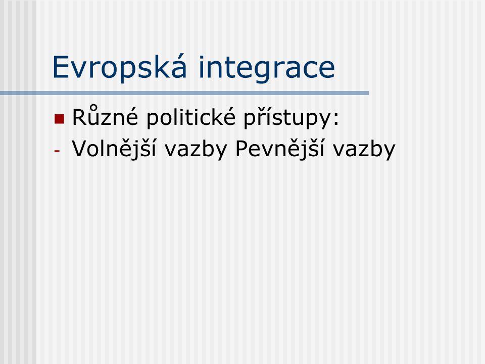 Evropská integrace Různé politické přístupy: