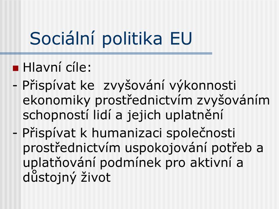 Sociální politika EU Hlavní cíle: