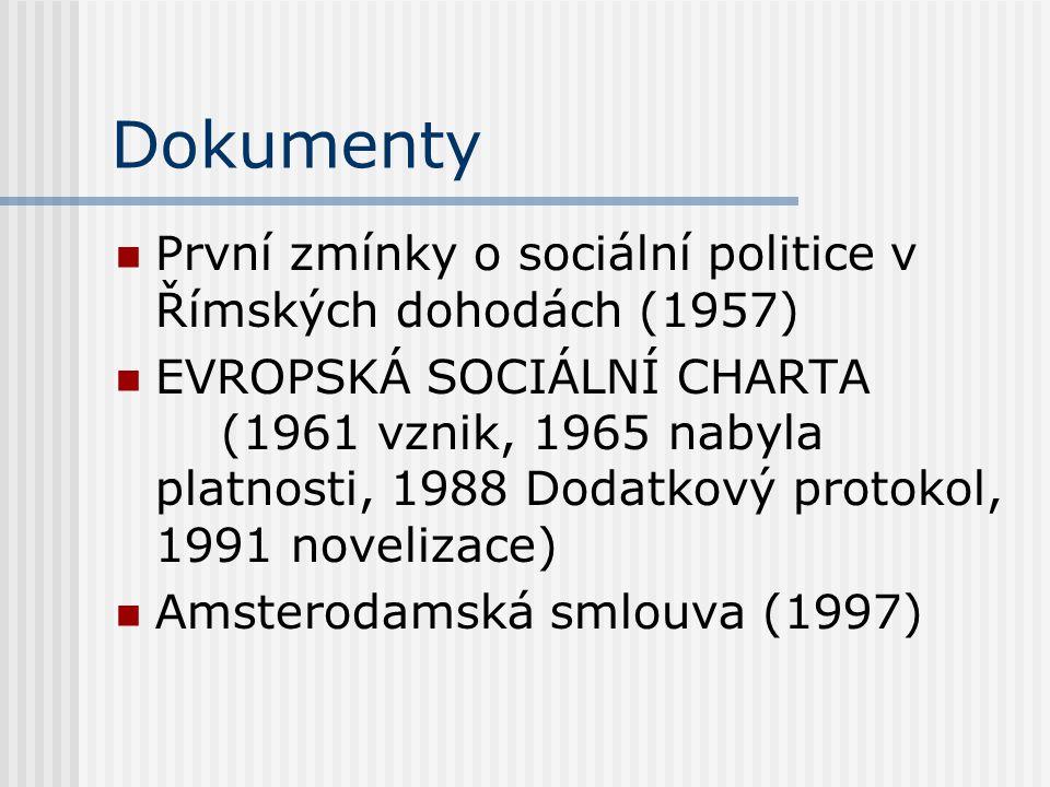 Dokumenty První zmínky o sociální politice v Římských dohodách (1957)