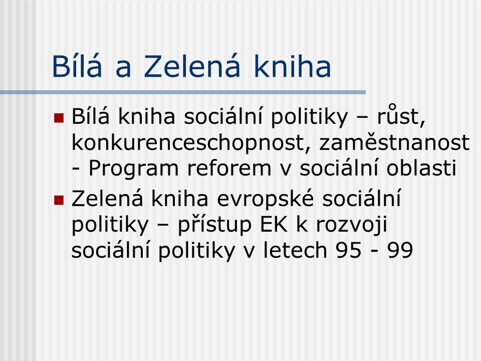 Bílá a Zelená kniha Bílá kniha sociální politiky – růst, konkurenceschopnost, zaměstnanost - Program reforem v sociální oblasti.