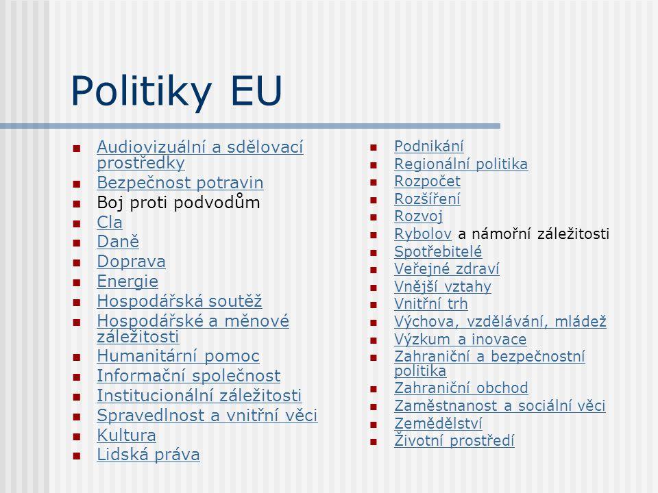 Politiky EU Audiovizuální a sdělovací prostředky Bezpečnost potravin