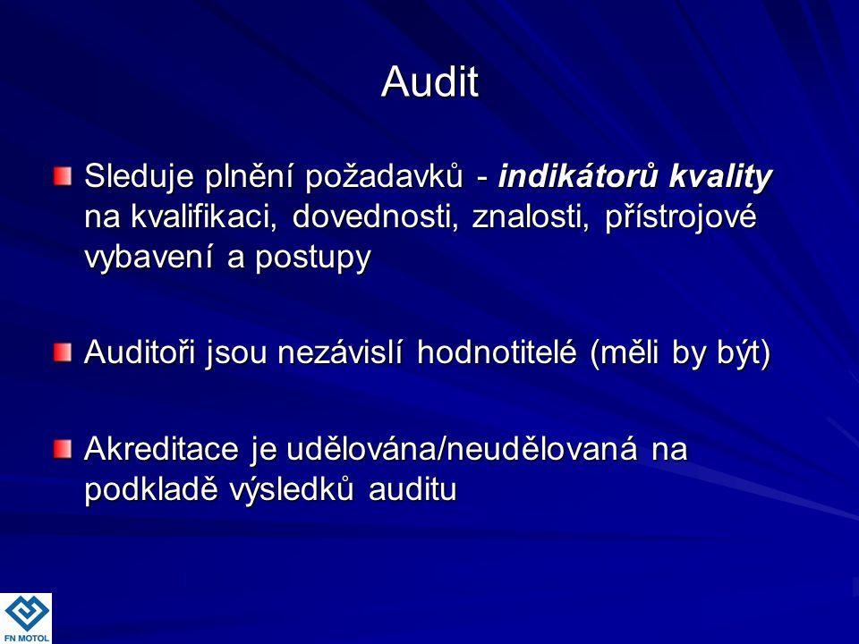 Audit Sleduje plnění požadavků - indikátorů kvality na kvalifikaci, dovednosti, znalosti, přístrojové vybavení a postupy.