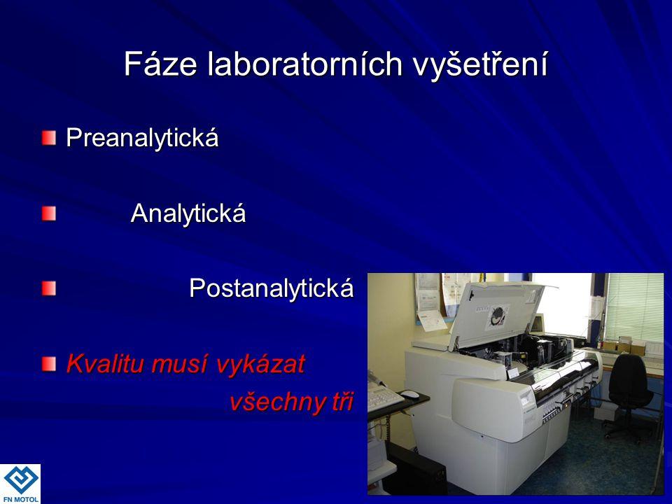 Fáze laboratorních vyšetření