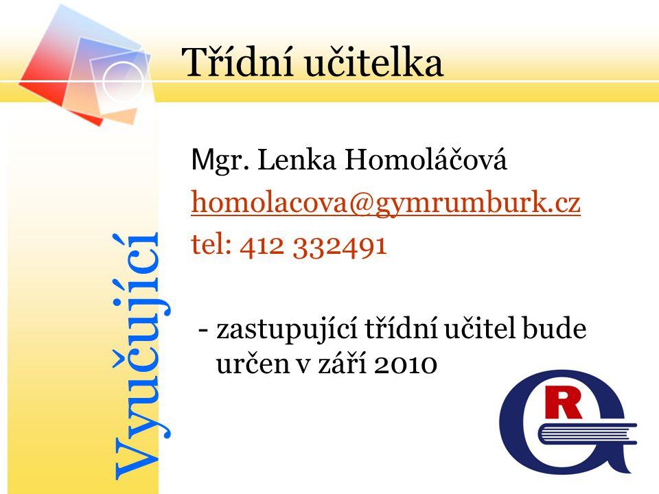 Vyučující Třídní učitelka Mgr. Lenka Homoláčová