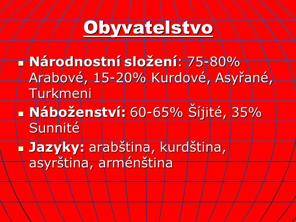 Obyvatelstvo Národnostní složení: 75-80% Arabové, 15-20% Kurdové, Asyřané, Turkmeni. Náboženství: 60-65% Šíjité, 35% Sunnité.