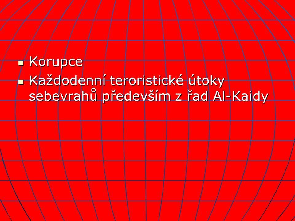Korupce Každodenní teroristické útoky sebevrahů především z řad Al-Kaidy