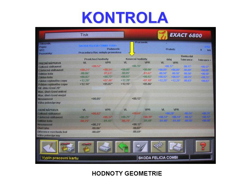 KONTROLA HODNOTY GEOMETRIE