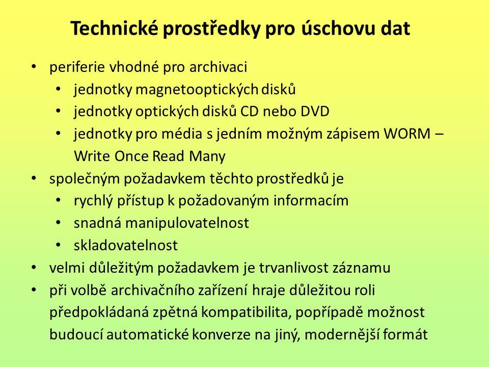 Technické prostředky pro úschovu dat