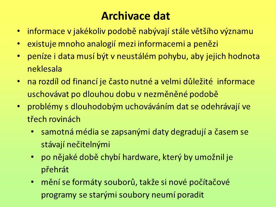 Archivace dat informace v jakékoliv podobě nabývají stále většího významu. existuje mnoho analogií mezi informacemi a penězi.