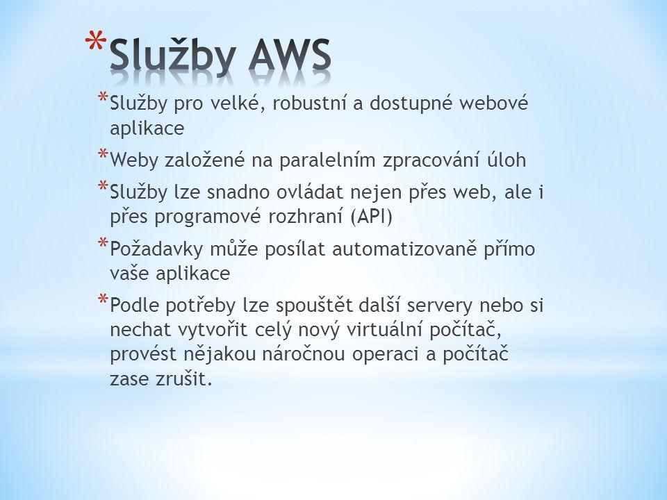 Služby AWS Služby pro velké, robustní a dostupné webové aplikace