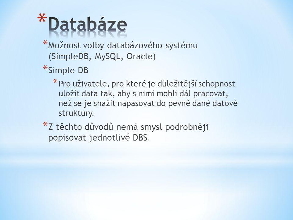 Databáze Možnost volby databázového systému (SimpleDB, MySQL, Oracle)