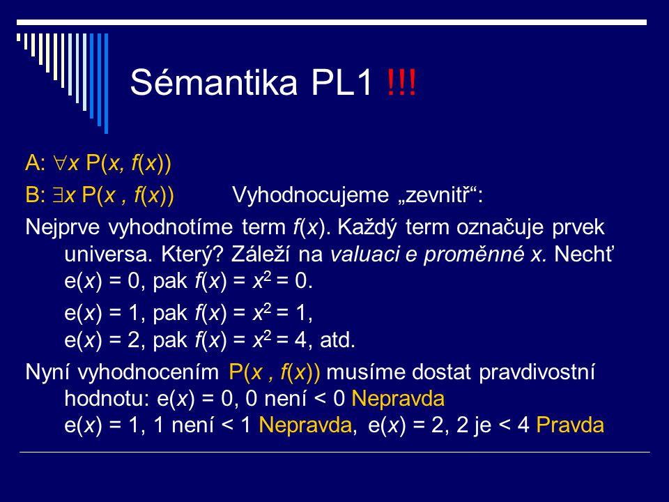 Sémantika PL1 !!! A: x P(x, f(x))