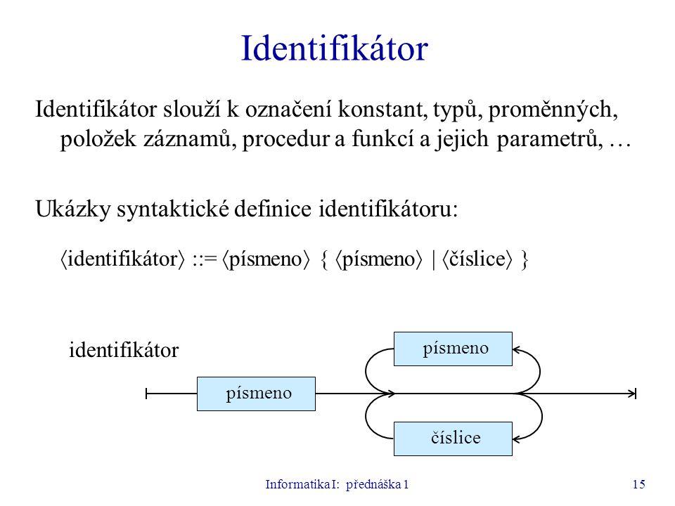 Informatika I: přednáška 1
